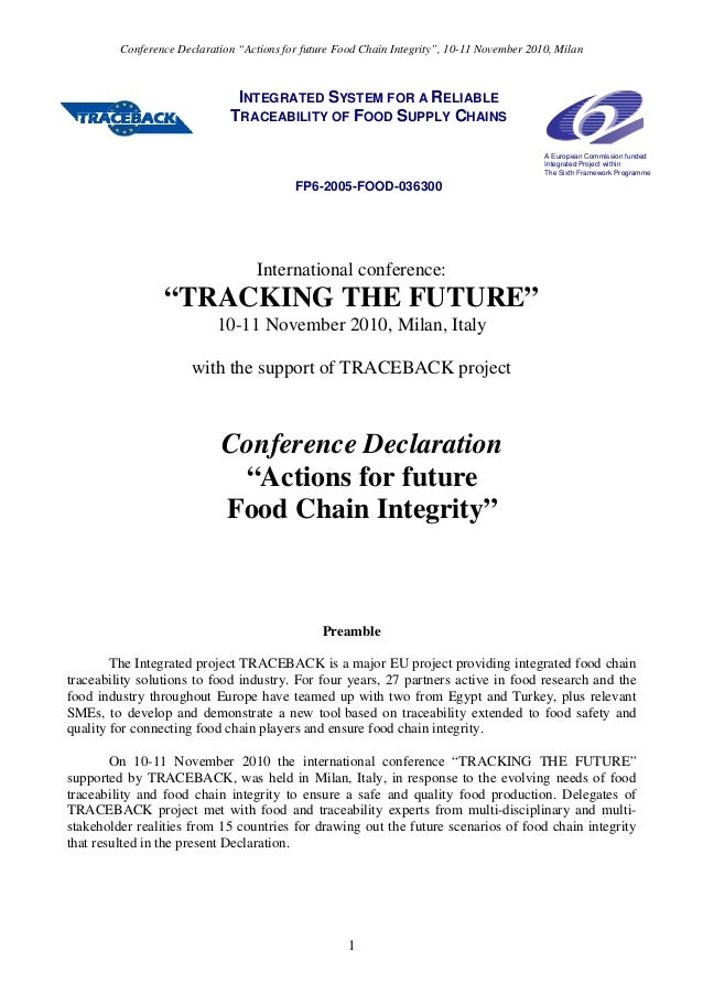 """Conference Declaration """"Actions for future Food Chain Integrity"""", 10-11 November 2010, Milan INTEGRATED SYSTEM FOR A RELIA..."""