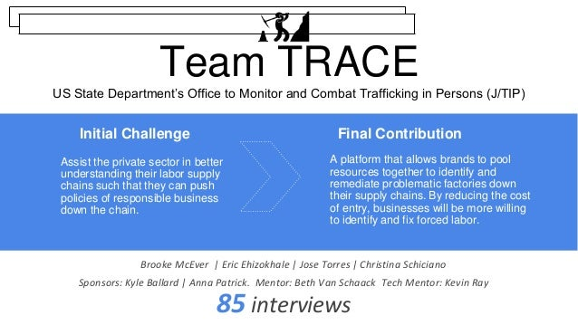 Team TRACE US State Department's Office to Monitor and Combat Trafficking in Persons (J/TIP) A platform that allows brands...
