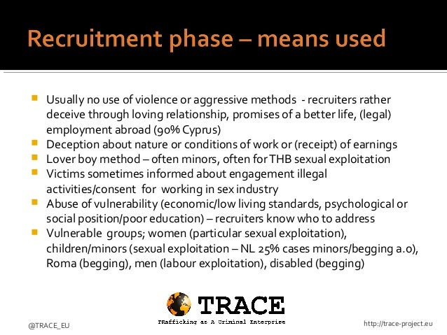 Recruitment phase in sex trafficking