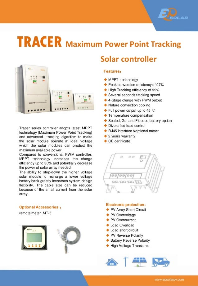 TRACER Maximum Power Point Tracking Solar controller Tracer series controller adopts latest MPPT technology (Maximum Power...