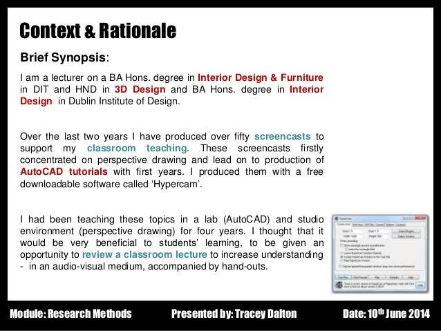 Classroom Design Rationale ~ Research proposal presentation june