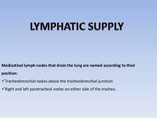 Mediastinal lymph nodes that drain the lung are named according to their  position:  Tracheobronchial nodes above the tra...