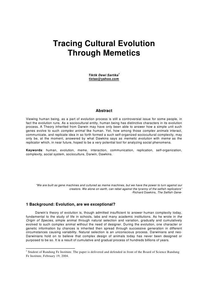 Tracing Cultural Evolution                       Through Memetics                                                Tiktik De...