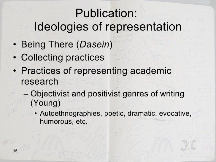 Publication:  Ideologies of representation <ul><li>Being There ( Dasein ) </li></ul><ul><li>Collecting practices  </li></u...