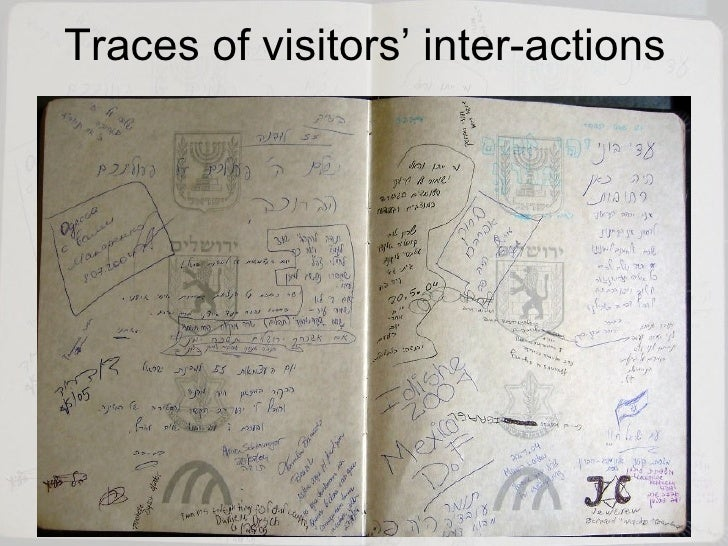 Traces of visitors' inter-actions