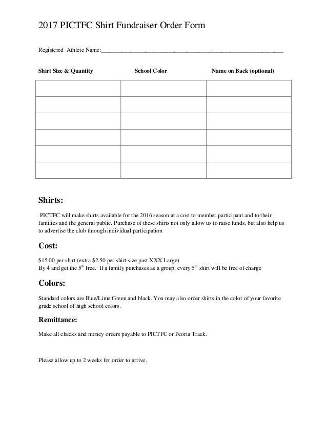 2017 PICTFC Shirt Fundraiser Order Form Registered Athlete Name: