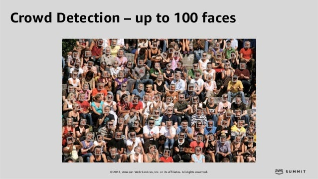 © 2018, Amazon Web Services, Inc. or its affiliates. All rights reserved. Crowd Detection – up to 100 faces
