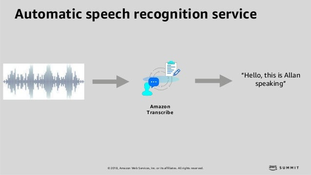 """© 2018, Amazon Web Services, Inc. or its affiliates. All rights reserved. """"Hello, this is Allan speaking"""" Automatic speech..."""