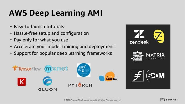 © 2018, Amazon Web Services, Inc. or its affiliates. All rights reserved. AWS Deep Learning AMI • Easy-to-launch tutorials...