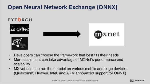 © 2018, Amazon Web Services, Inc. or its affiliates. All rights reserved. Open Neural Network Exchange (ONNX) • Developers...