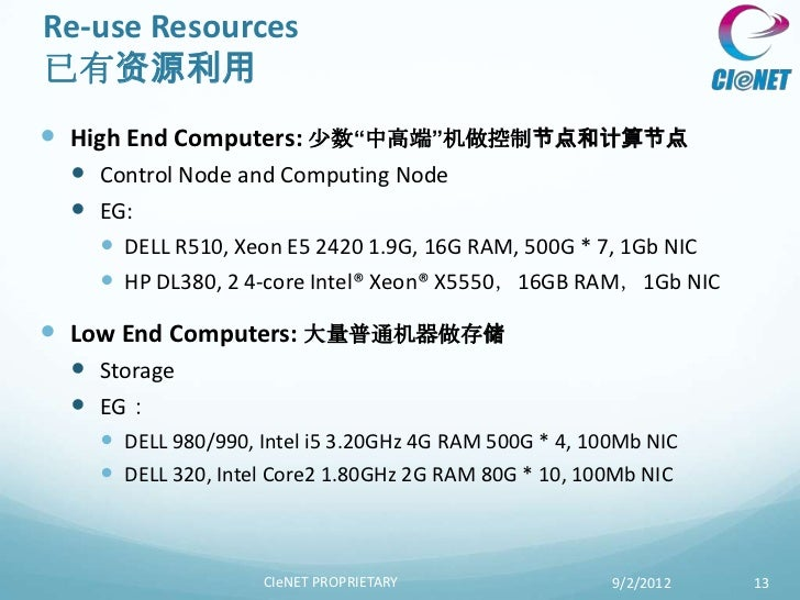 "Re-use Resources已有资源利用 High End Computers: 少数""中高端""机做控制节点和计算节点  Control Node and Computing Node  EG:    DELL R510, Xeon..."
