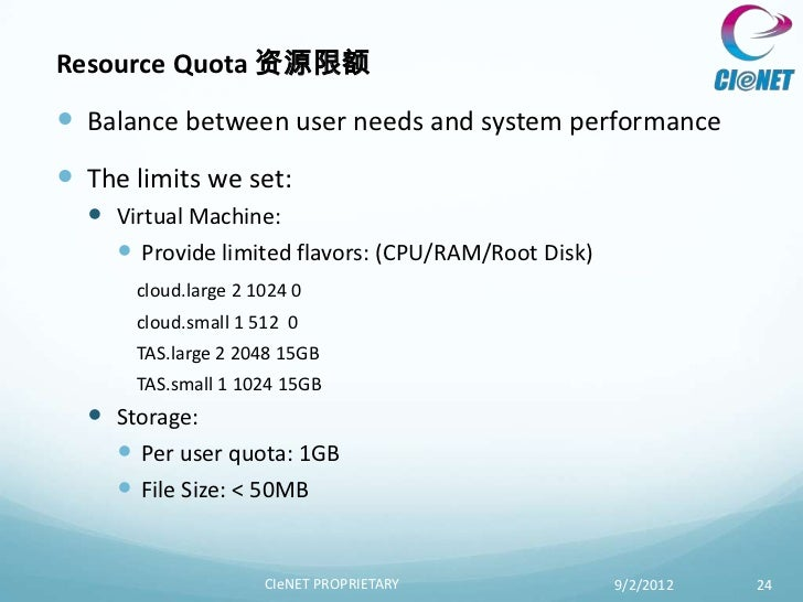 Resource Quota 资源限额 Balance between user needs and system performance The limits we set:   Virtual Machine:     Provid...