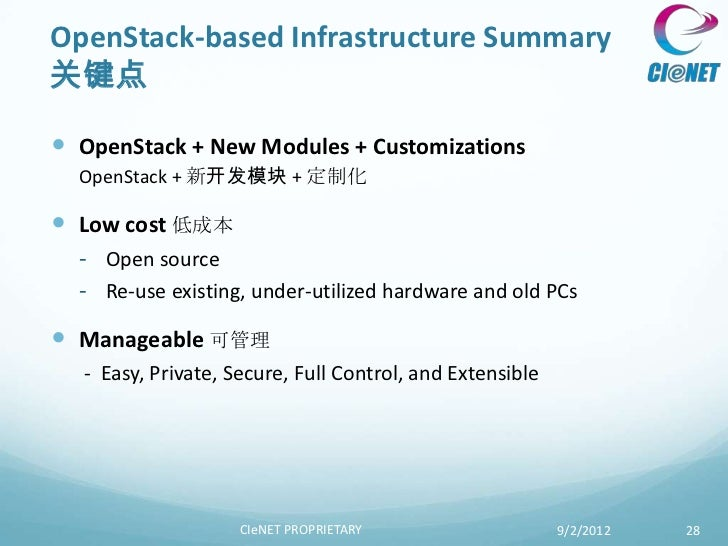 OpenStack-based Infrastructure Summary关键点 OpenStack + New Modules + Customizations  OpenStack + 新开发模块 + 定制化 Low cost 低成本...