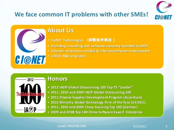 We face common IT problems with other SMEs!          About Us          • CIeNET Technologies (瞬联软件科技)          • A leading...