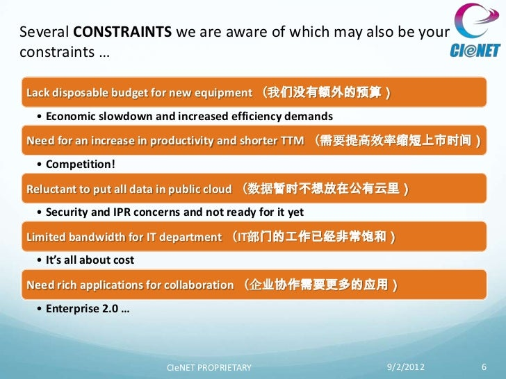 Several CONSTRAINTS we are aware of which may also be yourconstraints …Lack disposable budget for new equipment (我们没有额外的预算...