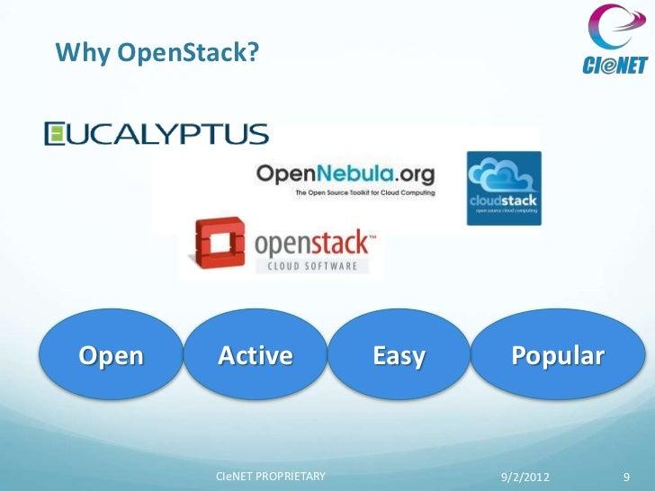 Why OpenStack? Open      Active              Easy    Popular          CIeNET PROPRIETARY          9/2/2012   9