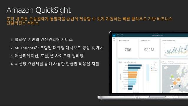 Amazon QuickSight 조직 내 모든 구성원에게 통찰력을 손쉽게 제공할 수 있게 지원하는 빠른 클라우드 기반 비즈니스 인텔리전스 서비스 1. 클라우 기반의 완전관리형 서비스 2. ML Insights가 포함된 ...