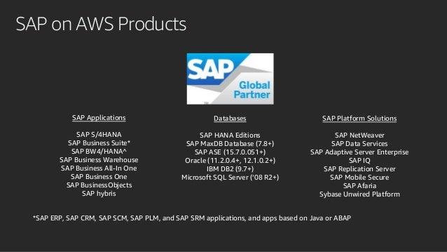 SAP on AWS Products Databases SAP HANA Editions SAP MaxDB Database (7.8+) SAP ASE (15.7.0.051+) Oracle (11.2.0.4+, 12.1.0....