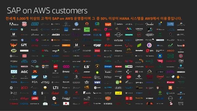 SAP on AWS customers 전세계 5,000개 이상의 고객이 SAP on AWS 운영중이며 그 중 50% 이상이 HANA 시스템을 AWS에서 이용중입니다.