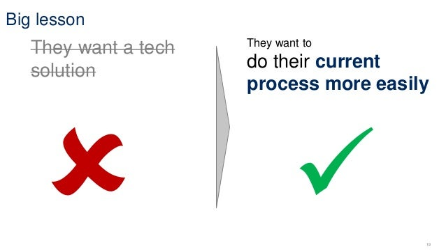 19 Big lesson They want a tech solution They want to do their current process more easily