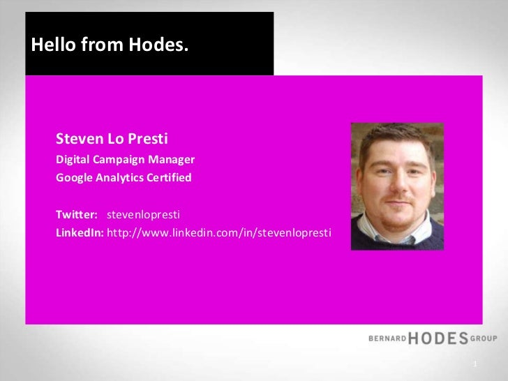 Hello from Hodes.  <br />Steven Lo Presti<br />Digital Campaign Manager <br />Google Analytics Certified<br />Twitter:s...