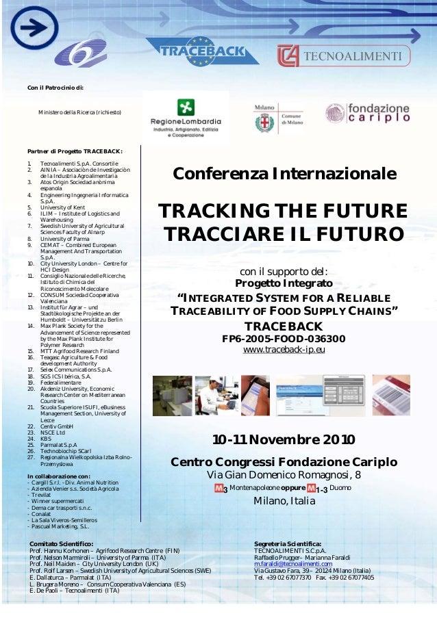 """Conferenza Internazionale TRACKING THE FUTURE TRACCIARE IL FUTURO con il supporto del: Progetto Integrato """"INTEGRATED SYST..."""