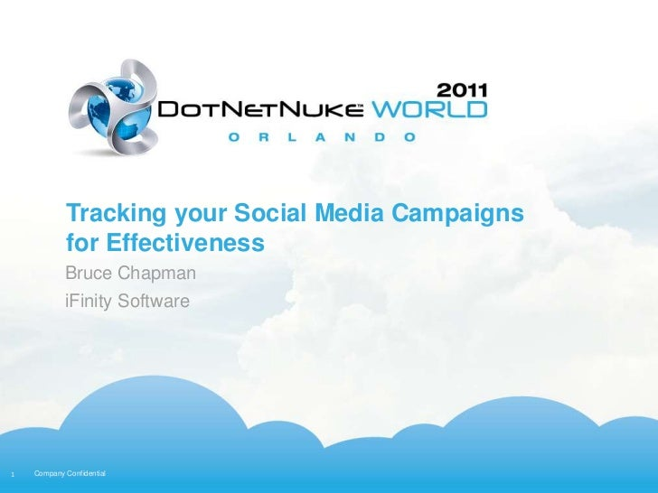 Tracking your Social Media Campaigns            for Effectiveness            Bruce Chapman            iFinity Software1   ...