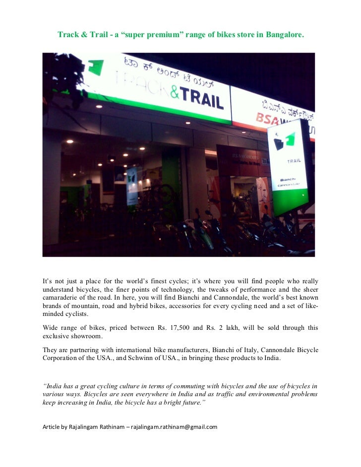 """Track & Trail - a """"super premium"""" range of bikes store in Bangalore.It's not just a place for the world's finest cycles; i..."""