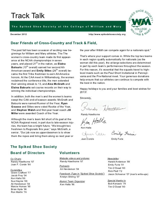 Track Talk The Spiked Shoe Society at the College of William and MaryDecember 2012                                        ...