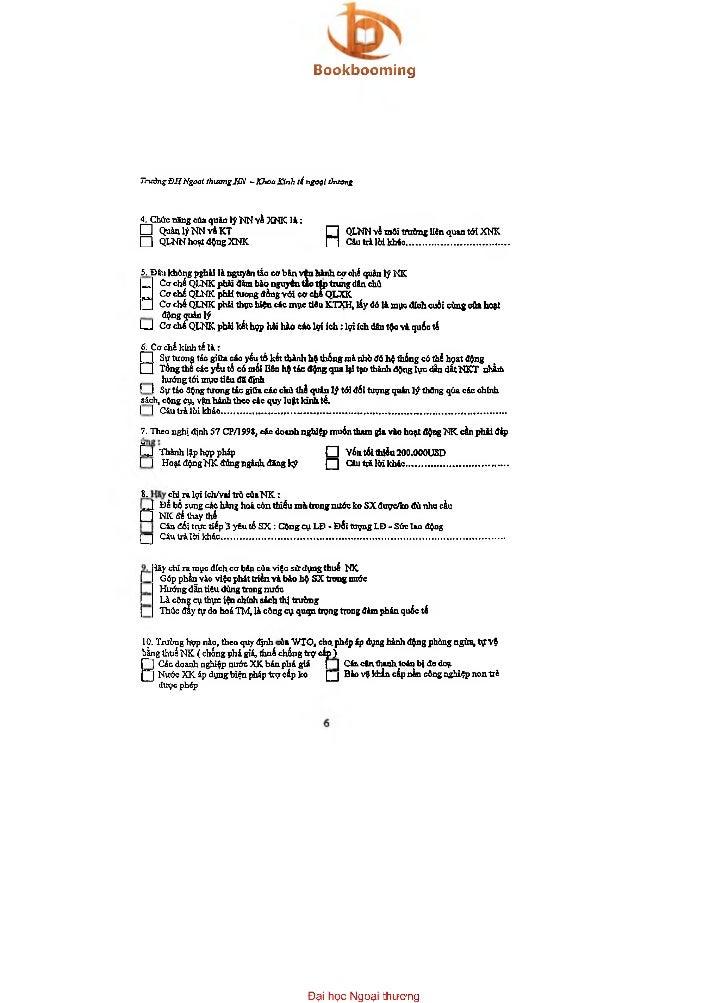 BookboomingTrườngĐHNgoại thươngỉữi - KhoaKỉnh ti rtgoọl thương4. Chức năng của quản lý NN Yằ XNK l à :□      Q uảnlýN N vỉ...