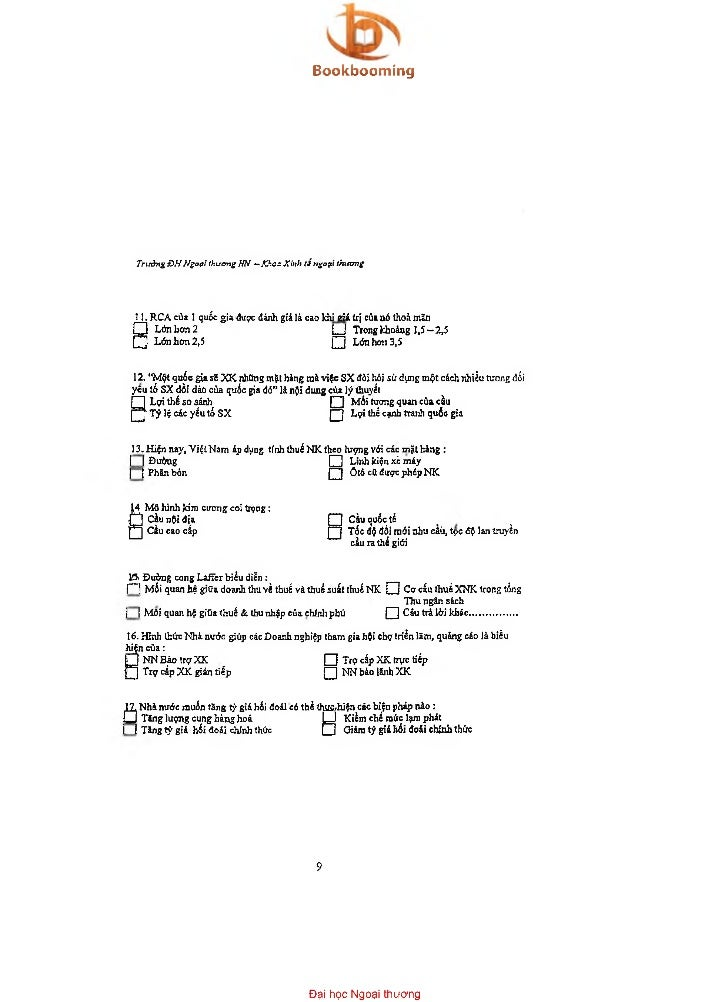 Bookbooming   Tnròng ĐHNgoại thưcmg HN —Xhos Kinh t ỉ ngoại thương   1 1. RCA của 1 quốc gia được đánh giả là cao khi g ii...