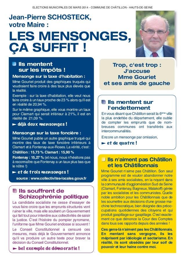 ELECTIONS MUNICIPALES DE MARS 2014 - COMMUNE DE CHÂTILLON - HAUTS-DE-SEINE  Jean-Pierre SCHOSTECK, votre Maire :  LES MENS...