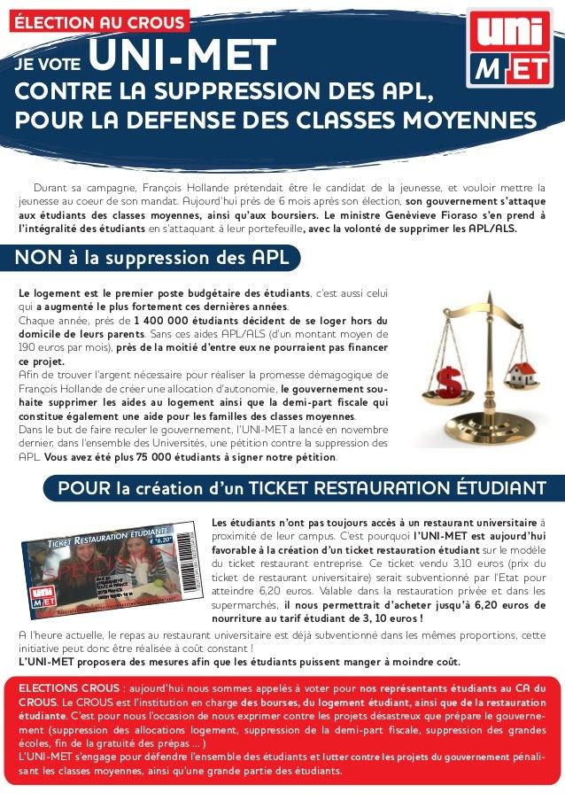 JE VOTE       UNI-METCONTRE LA SUPPRESSION DES APL,POUR LA DEFENSE DES CLASSES MOYENNES    Durant sa campagne, François Ho...