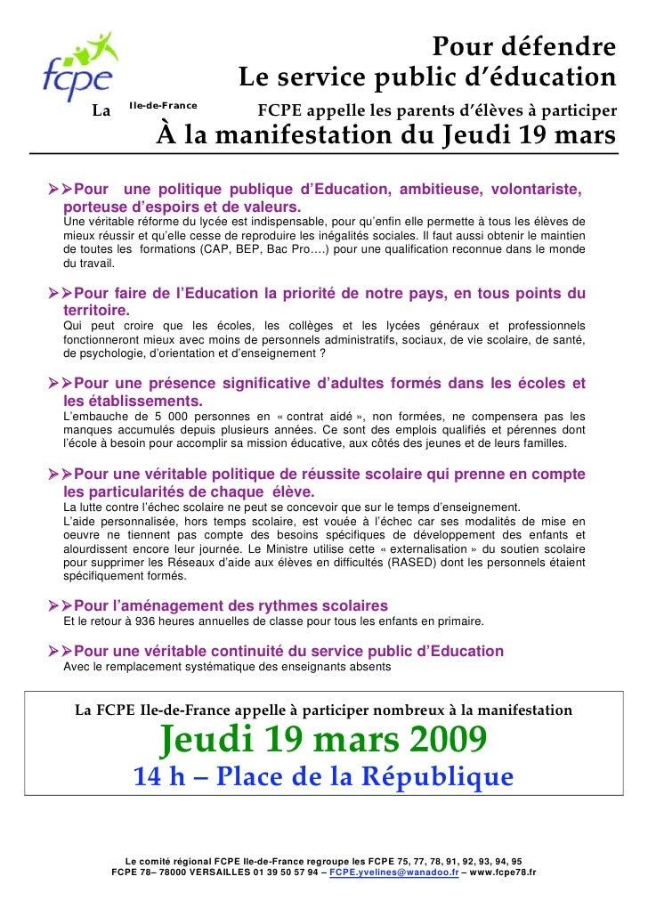 Manifestation Du Jeudi 19 Mars