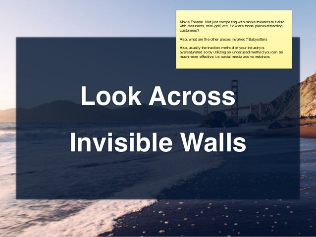 Look Across Invisible Walls Movie Theatre. Not just competing with movie theaters but also with resturants, mini-golf, etc...