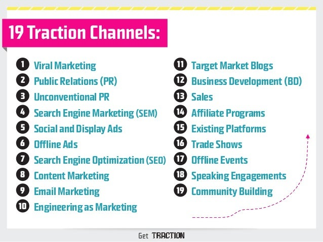 19 Traction Channels:  Viral Marketing  Public Relations (PR)  Unconventional PR  Search Engine Marketing (SEM)  Social an...