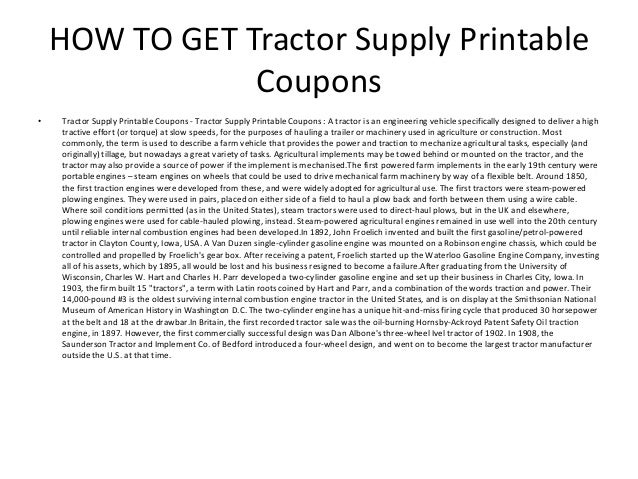 picture relating to Tractor Supply Coupons Printable titled Tractor Delivery Printable Discount codes - Tractor Give Printable