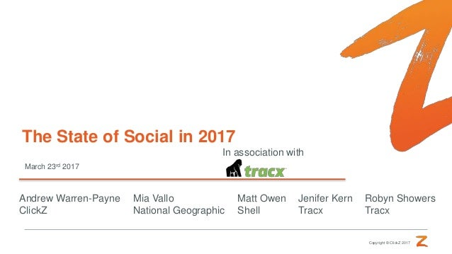 Copyright © ClickZ 2017 March 23rd 2017 The State of Social in 2017 In association with Andrew Warren-Payne ClickZ Mia Val...