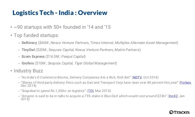 Logistics Tech - India : Overview • ~90 startups with 50+ founded in 14 and 15 • Top funded startups: – Delhivery ($40M ; ...