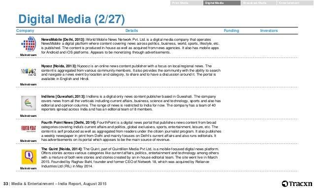 Print Media Digital Media Broadcast Media Entertainment; 33.