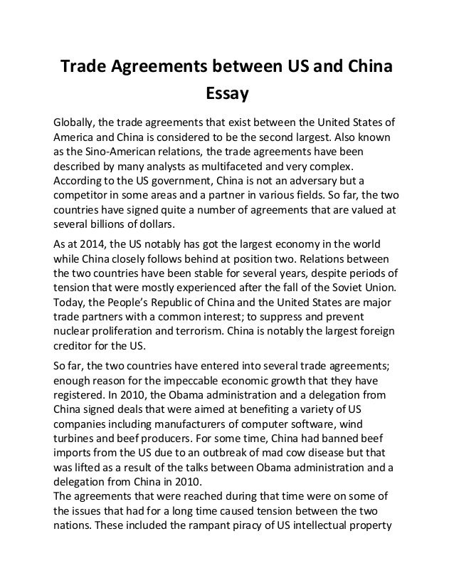 Trade agreements between us and china essay trade agreements between us and china essay globally the trade agreements that exist between the platinumwayz
