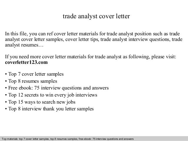Trade analyst cover letter