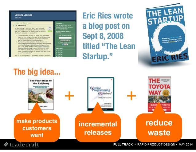 """FULL TRACK • RAPID PRODUCT DESIGN • MAY 2014 Eric Ries wrote a blog post on Sept 8, 2008 titled """"The Lean Startup."""" + incr..."""
