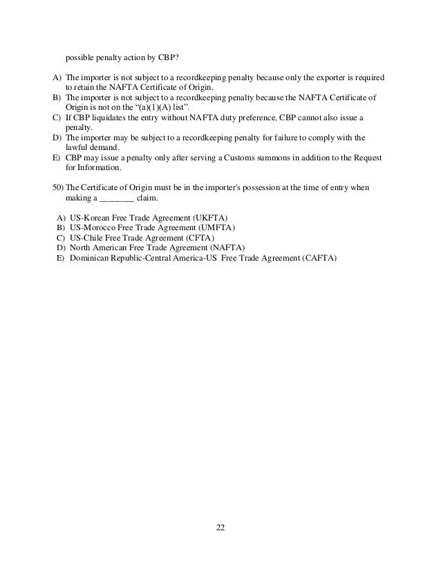Trade customs exam questions which of the following is true concerning 22 yadclub Choice Image