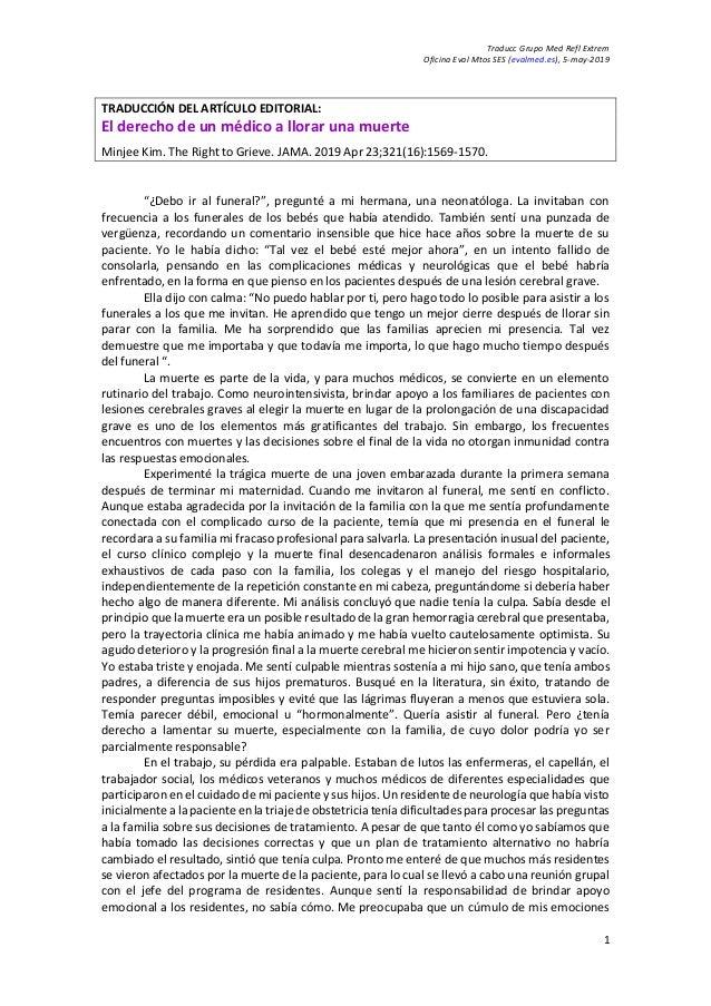 Traducc Grupo Med Refl Extrem Oficina Eval Mtos SES (evalmed.es), 5-may-2019 1 TRADUCCIÓN DEL ARTÍCULO EDITORIAL: El derec...