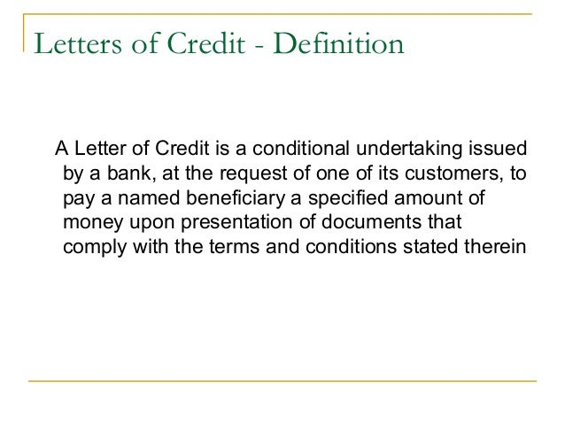 countertrade 15 letters of credit definition a letter