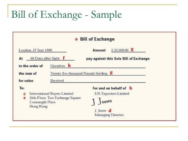 Trade Finance Identification of Needs and Product Offerings – Bill of Exchange Sample