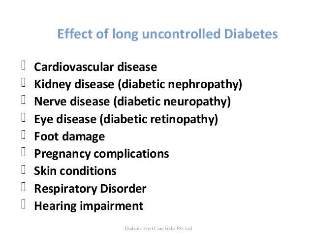 Effect of long uncontrolled Diabetes  Cardiovascular disease  Kidney disease (diabetic nephropathy)  Nerve disease (dia...