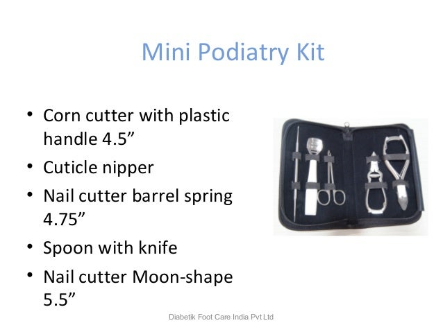 """Mini Podiatry Kit • Corn cutter with plastic handle 4.5"""" • Cuticle nipper • Nail cutter barrel spring 4.75"""" • Spoon with k..."""