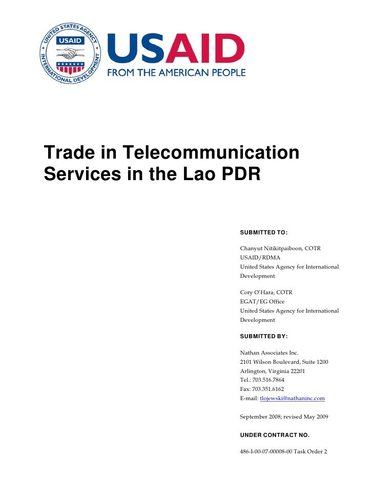 Trade in TelecommunicationServices in the Lao PDR                   SUBMITTED TO:                   Chanyut Nitikitpaiboon...